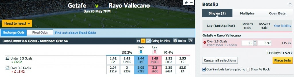Matching betting offers with Betfair.