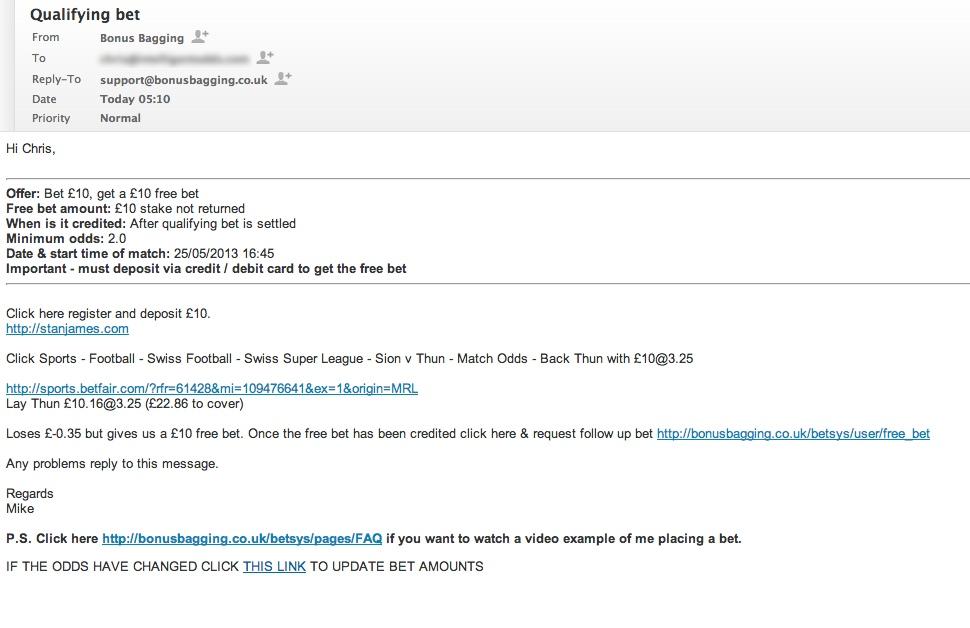 A Bonus Bagging email