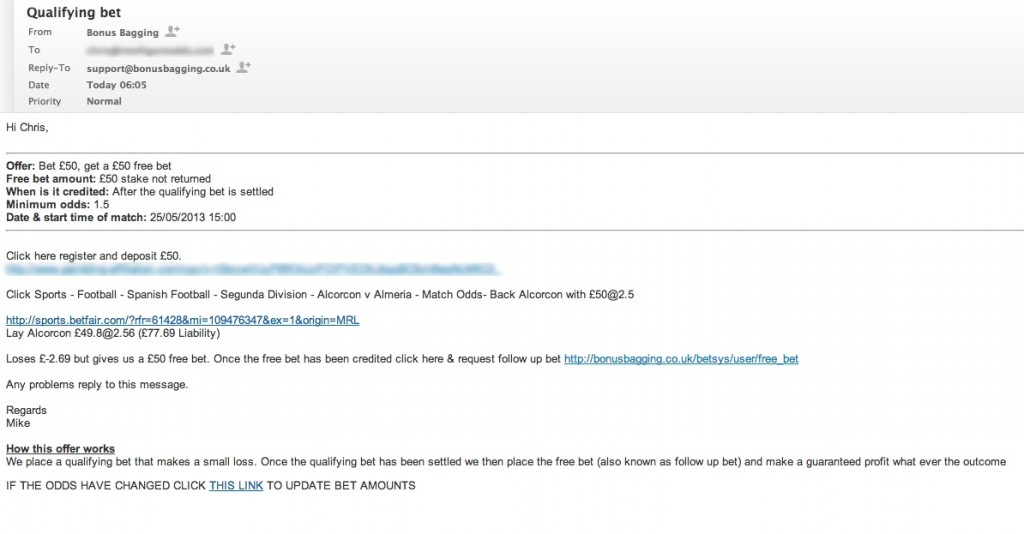 A Bonus Bagging email from Mike.