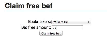 Claiming a free bet with Bonus Bagging