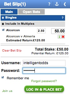 The Coral bookmaker bet slip.