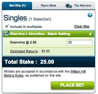 Placing a matched bet at William Hill.