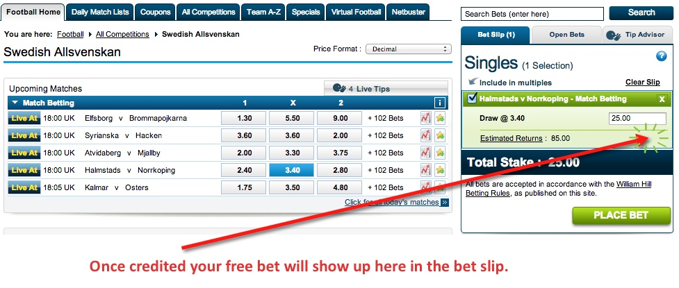 Staking a free bet at William Hill.