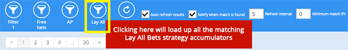 The Lay All Bets button in Accumulator Generator