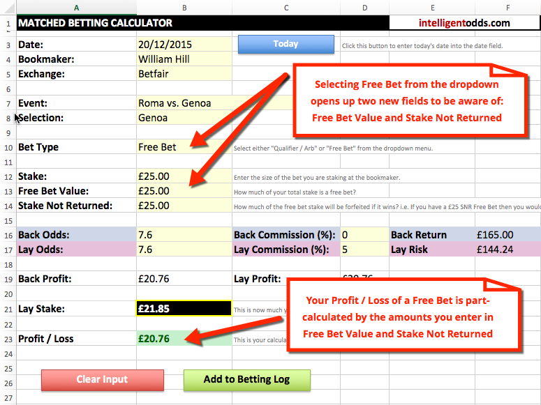 Matched Betting Spreadsheet - Free Bet Calculation
